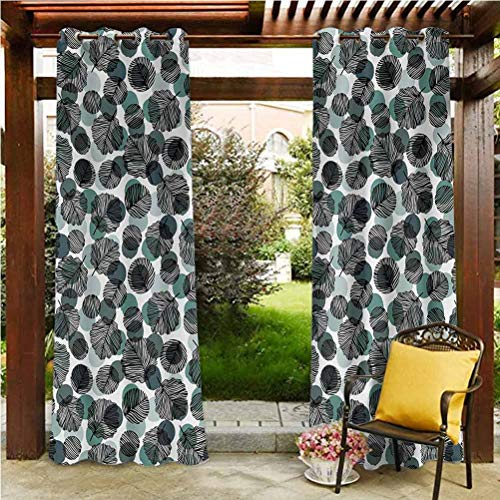 ScottDecor Leaves Fade Resistant Drape Gazebo Garden Furniture House Dotted Background with Foliage Pattern with Black Stripes Nature Slate Blue Pale Green Black 96' W by 84' L(K245cm x G214cm)
