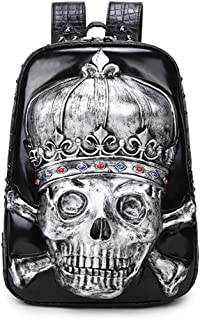 Recreational Style Black/Silver/Gold Pu Shoulder Bag Ladies 3D Silicone Personality Skull Head Computer Bag Outdoor Travel Waterproof Backpack Male 30 * 12 * 42 (cm) Fashionable (Color : Silver)