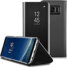 Priefy Kickstand Mirror Luxury Electroplate Plating Smart Clear View Flip Case Cover Compatible for Samsung Galaxy S8 Plus (Black)