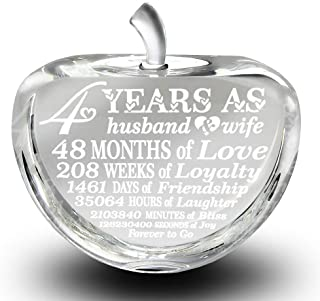 BELLA BUSTA 4 Years Anniversary-Traditional Fruit Gift for 4th Anniversary-Engraved Crystal Apple (Crystal Apple)