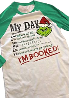 Top Take Women Christmas Grinch Letters Print Funny I'm Booked Baseball T-Shirt Tops