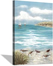 Abstract Beach Canvas Wall Painting: Seagull on The Beach Artwork Abstract Seaside Canvas Wall Art for Bedroom (36'' x 24'...