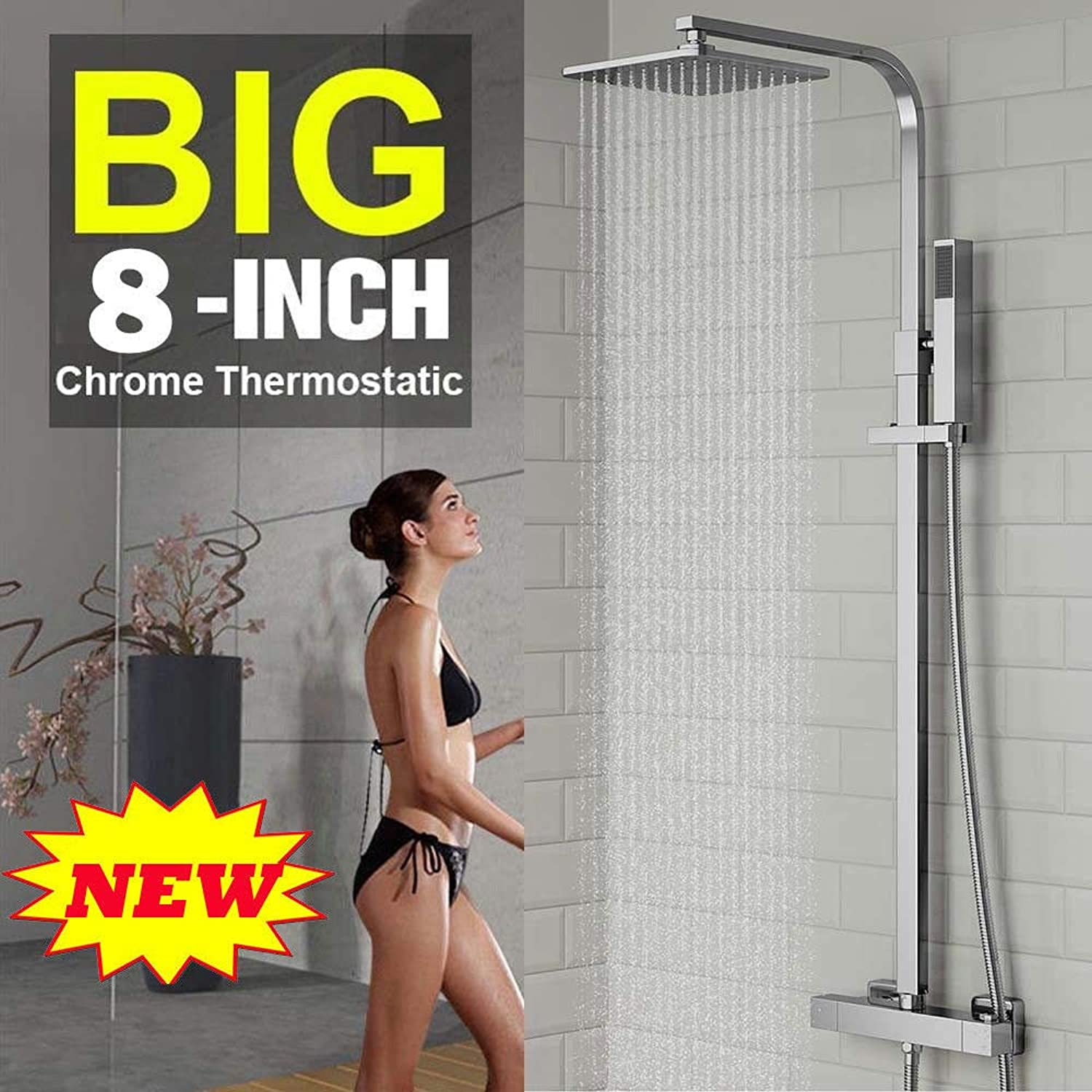 Bathroom Exposed Thermostatic 2-Way Outlet Bar Mixer Shower Set System Overhead Chrome Valve Twin Head Valve Set-Rain Fall Shower Square Head + Handheld- Easy to Install