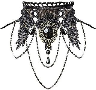 Gothic Skull Head Necklace Black Lace Handmade Chain Jewelry Women Halloween