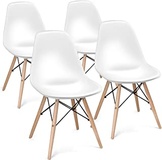 Giantex DSW Chair Wood Assembled Legs for Kitchen, Dining, Bedroom, Living Room, White