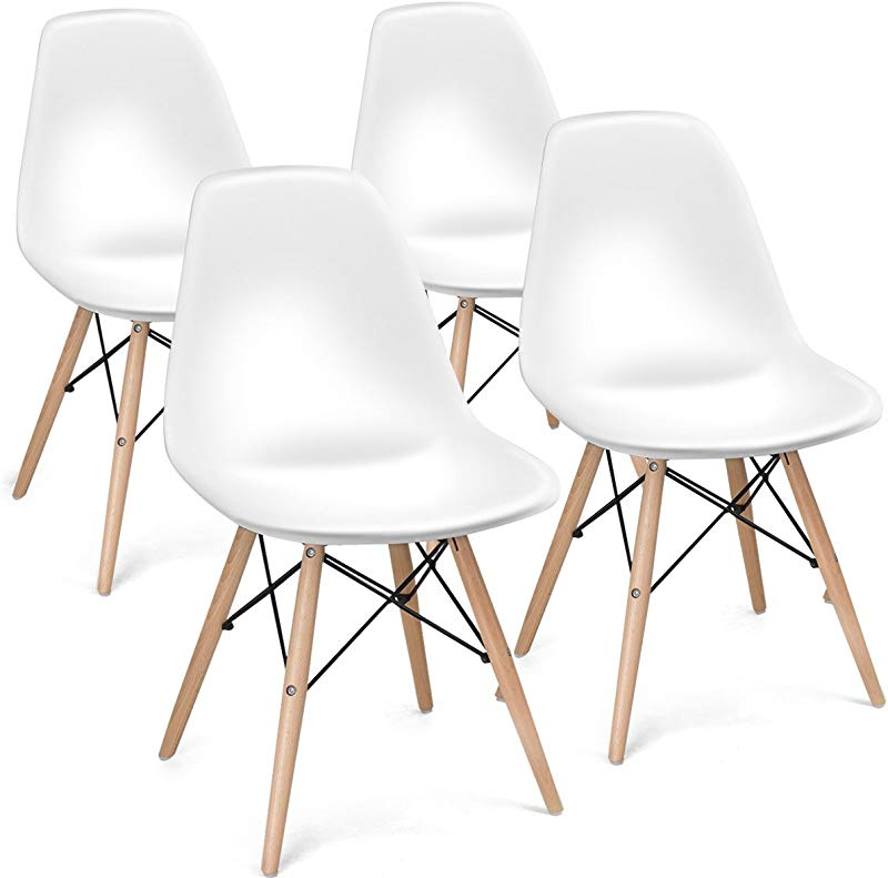 Giantex Set Of 4 Mid Century Modern Style DSW Chair Wood Assembled Legs For Kitchen Dining Bedroom Living Room White