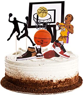 Winrase Basketball Scene Theme Cake Toppers Set Boy Birthday Party Cupcake Toppers, Father Birthday Man Birthday Cake Topper Party Decorations Supplies