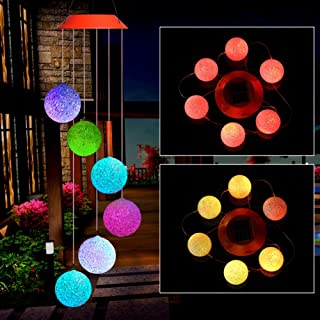 YUMAMEI Solar Wind Chimes Lights, Outdoor Crystal Ball Solar Lights, Mobile Wind-Bell, Waterproof Color Changing Wind Chimes, Spiral Spinner Festival Garden Decoration (Crystal Ball)