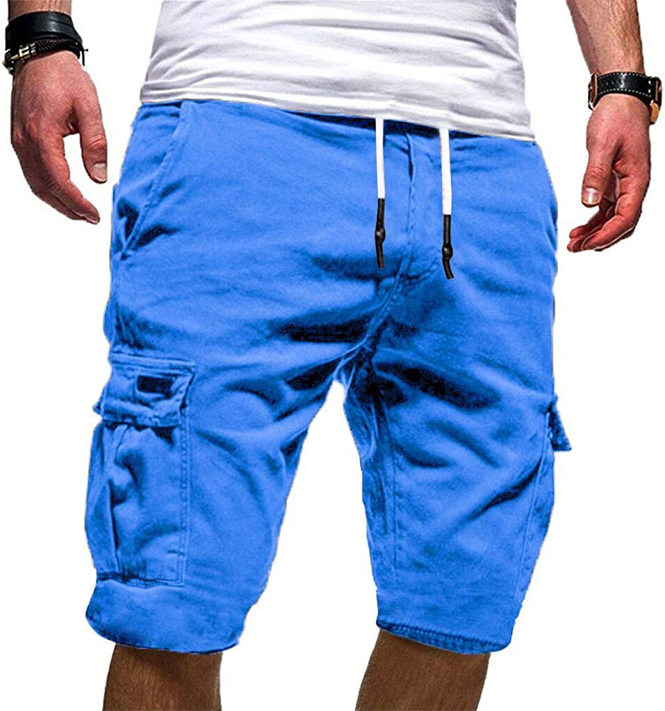 Men/'s Sport Pure Color Casual Loose Sweatpants Drawstring Mid Waist Shorts Pant