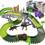 TEEMEE Dinosaur Toys, 204 Pcs Kids Dinosaur World Race Car Track, Flexible Track Playset with 2...