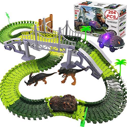 TEEMEE Dinosaur Toys, Kids Dinosaur World Race Car Track, Flexible Track...