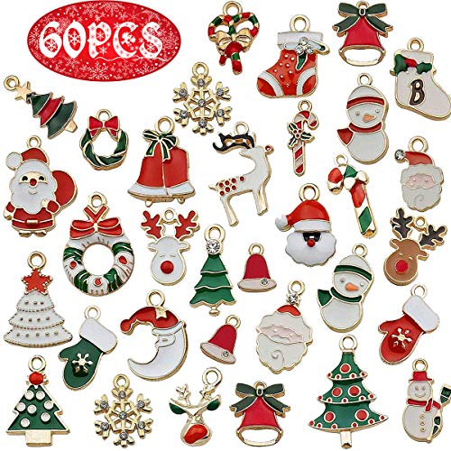 60pcs Stili di Natale Ciondolo Charm per collana braccialetto gioielli fare vestiti cucito borse decorazione fascino fai da te scrapbooking fornitura