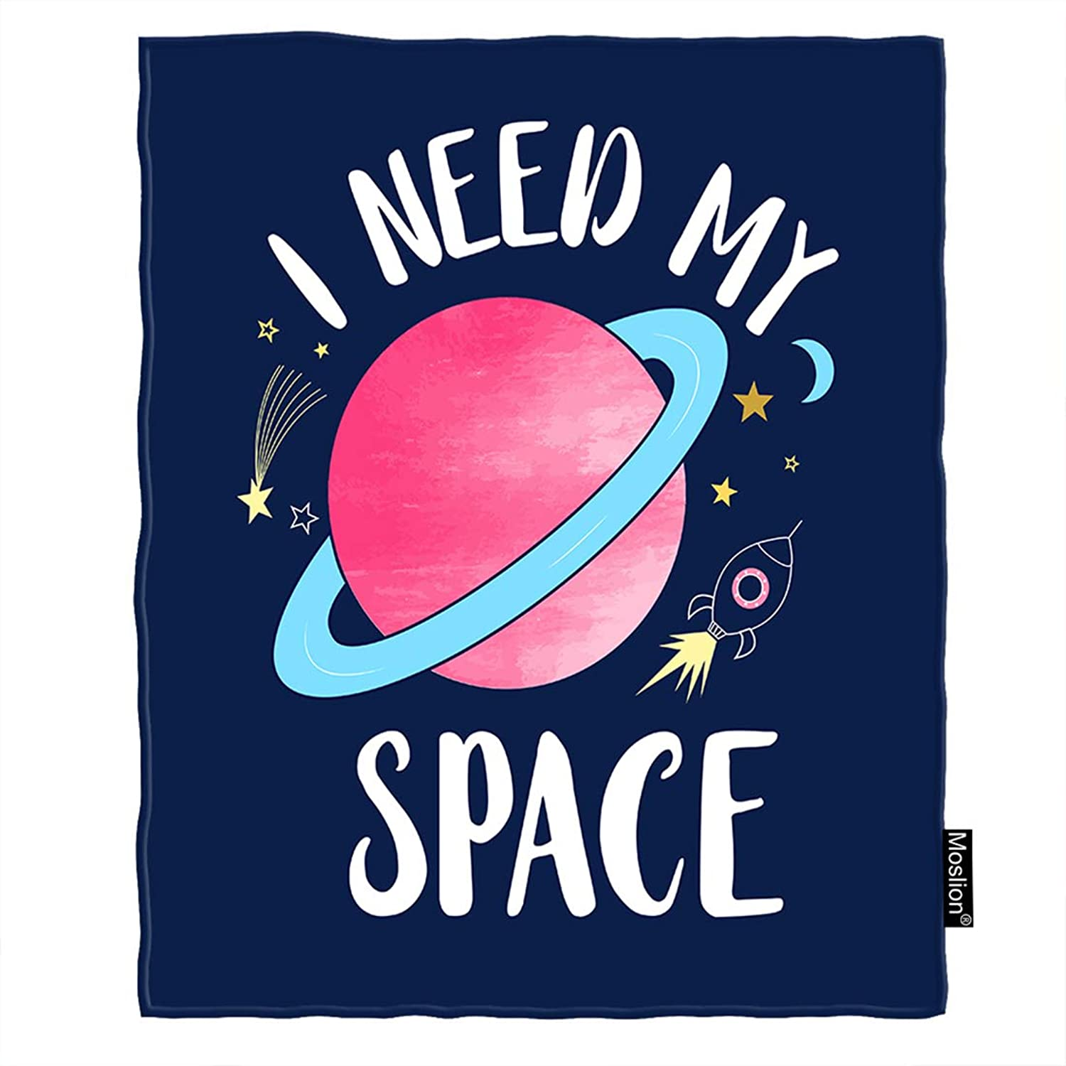 Moslion Planet Blanket Universe Rocket Stars Moon Quote I Need My Space Throw Blanket Flannel Home Decorative Soft Cozy Blankets 60x80 Inch for Adults Kids Sofa Navy bluee Pink