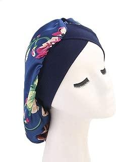 Women Satin Lined Sleep Bonnet Hair Cap Sleeping Slouchy Hat Slap Headwear for Curly Frizzy Hair