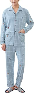 Men's Sleepwear Spring Autumn Fashion Casual Plaid Pajama Set Comfortable Sizes Long Sleeve Lapel Baggy Comfortable Breath...