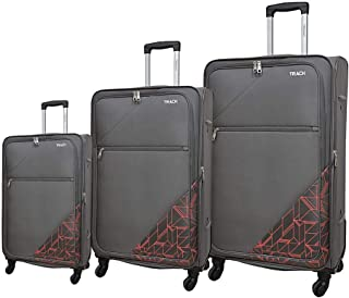 Track Fabric Luggage Trolley Bag, 4 Wheels, 3 Pieces - Grey