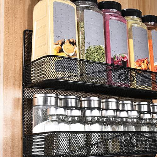 2 Pack 2-Tier Wall Mount/Desk Spice Rack Organizer for Cabinet Pantry Door,Super Wide Hanging/Countertop Spice Shelf Storage.