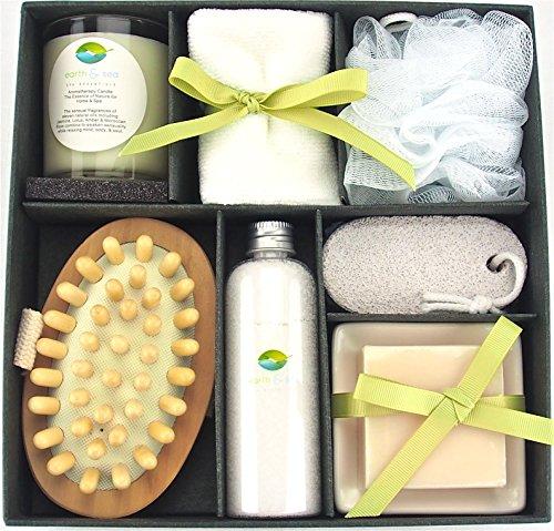 Earth amp Sea Spa Essentials Bath SetSoy Wax Candle Cotton Bath Cloth Exfoliating Sponge Pumice Stone Wooden Massager Brush Salts Bath SoapGreen Gift Set