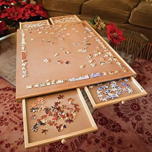 Bits and Pieces - The Original Jumbo 1500 pc Wooden Puzzle Plateau-Smooth Fiberboard Work Surface - Four Sliding Drawers Complete This Puzzle Storage System from Melville Direct