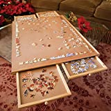 Bits and Pieces - The Original Jumbo 1500 pc Wooden Puzzle Plateau-Smooth Fiberboard Work Surface - Four Sliding Drawers Complete This Puzzle Storage System