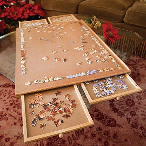 Bits and Pieces – Puzzleplateau aus Holz, Jumbo Größe - Ebene Arbeitsfläche mit Vier Schubladen - Puzzle-Speichersystem - Puzzleunterlage - Puzzlematte
