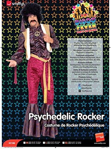 Smiffys Costume Cantante Psichedelico Anni '70 con pantaloni a zampa di elefante, Top con Gilet e Copricapo,XL