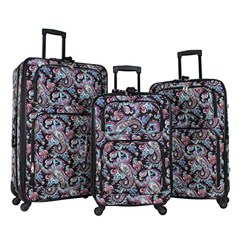World Traveler 3-Piece Rolling Expandable Spinner-Paisley