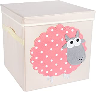 "DII Nursery Storage Bins for Toys, Clothing, Books, Cube Organizers ((13 x 13 x 13""), Sheep, w/Lid"