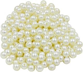 Homyl 130 peças 8 mm redondo ABS plástico imitação pérolas joias descobertas para artesanato de arte faça você mesmo