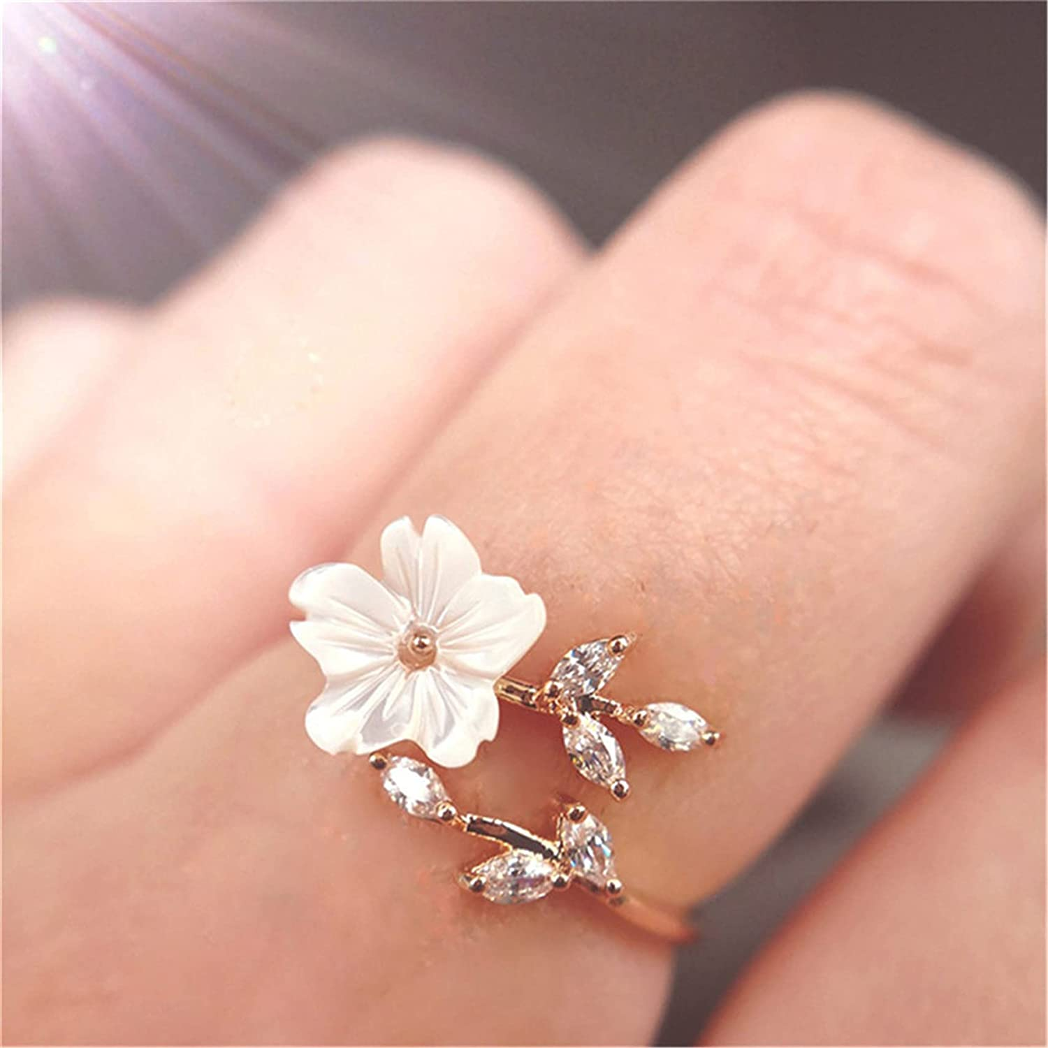 ZHAOQI Crystal Leaf Flower Ring Adjustable Flower Open Ring Created Crystal Rings Stacking Rings Engagement Ring for Women