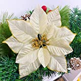 TURNMEON 24 Pack 6 Inch Christmas Glitter Poinsettia Artificial Silk Flowers Picks Christmas Tree Ornaments for Gold Christmas Tree Wreaths Garland Holiday Decoration(Gold)