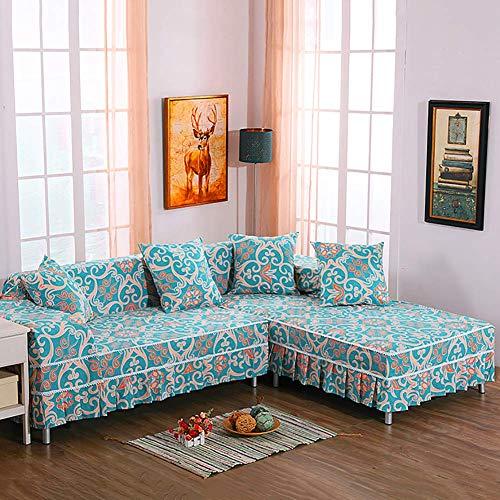 JBNJV Fundas de sofá de Encaje, Fundas de sofá seccionales en Forma de L Impresas, Falda de Funda de sofá de algodón Suave, Protector de Muebles Vendido por Pieza Amarillo Claro 210x350 cm (82,7x1