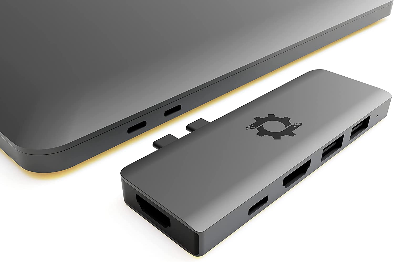 NOV8Tech USB C Hub Dual 4K HDMI Triple Display USB Adapter for MacBook Pro 2020/2019/2018/2017/2016 & MacBook Air 2020-2018, 7 in 2 Gray 100W USB-C Hub Dongle, SD & Micro SD Reader, USB 3 & USB 2