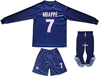 LES TRICOT 2019/2020 Paris Home #7 Kylian MBAPPE Football Saint Soccer Kids Long Sleeve Jersey Socks Set Youth Sizes