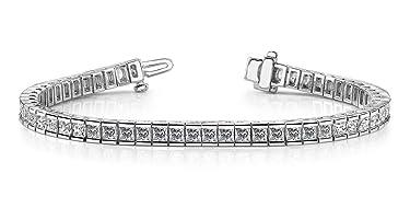 Madina Jewelry 5.00 ct Ladies 100% Natural Princess Cut Diamond Tennis Bracelet in Channel Setting