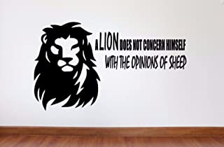 Maxx Graphixx Motivational Wall Quote Decal - A Lion Does Not Concern Himself with The Opinions of Sheep - Inspirational Quote (16h x 27w inches, Black)