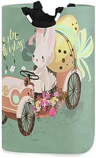 N\A Joyeux Jour de Pâques Lapin Lapin Porte-Panier à Linge étanche, Grand Panier de Sac à Linge Pliable pour vêtements Sal...
