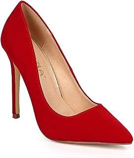 Women Velvet Pointy Toe Single Sole Classic Stiletto Pump DJ11 - Red Faux Suede