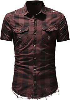 Men's Short Sleeve Plaid Shirt Slim Fit Button Down Shirts Blouse Top with Pocket