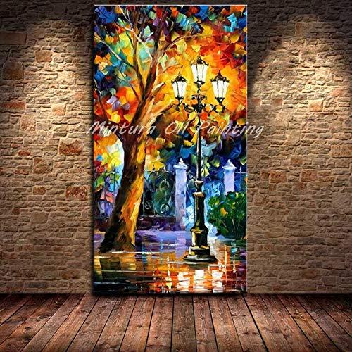 SDFSD Gemalte Palette Messer Straßenlampe & Baum Ölgemälde auf Leinwand Abstrakte Moderne Home Wall Decor Bilder 40X80CM