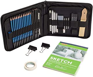 Sketching and Drawing Pencils Set, 37-Piece Professional Sketch Pencils Set in Zipper Carry Case, Art Supplies Drawing Set with Graphite Charcoal Sticks Tool Sketch book for Adults Kids by Shuttle Art