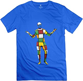 Vintage Melting 3-D Rubiks Cube Mirror Men's T-shirt RoyalBlue