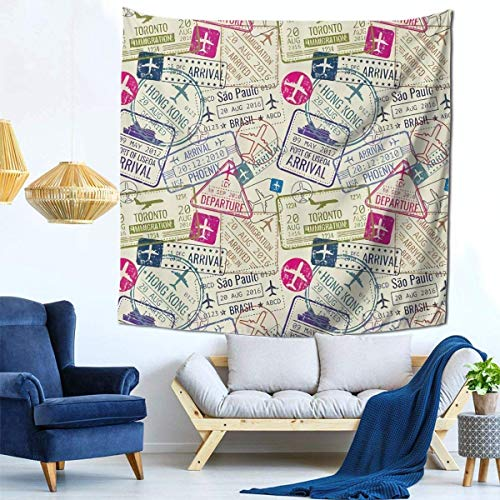 Ha99y Tapisserien Mode Wandbehang Gemütliche Innen Tapisserien Home Dekorieren Decke 59 X 59 Zoll Pass Visum Stempel Illustration