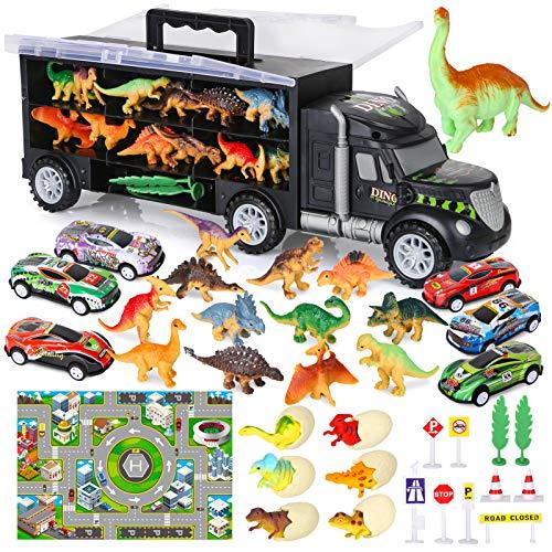 Vanplay Camión Transportador de Dinosaurios incluir Huevos de Dinosaurio Juguetes Mini Coche de Carreras, Tapete de Juego, Las señales de Tráfico para Niños y Niñas