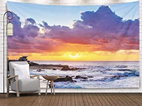Douecish Hanging Wall Tapestry,Tapestry Wall Hanging, Decoration Beautiful Sunset The Coast San Diego California La Jolla for Bedroom Living Room Decor Wall Hanging Tapestry 80X60 Inches,Orange Black