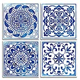 4 piece Framed Canvas Wall Art for Living Room family bathroom Wall decor modern kitchen office Bedroom Decoration Blue abstract painting inspiration posters pictures Wall Artworks for home walls