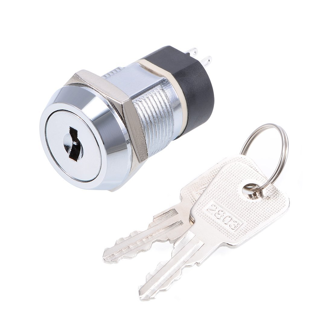uxcell 19mm 2 Positions New popularity 2NO 2NC Button Electric Push Swi Industry No. 1 Keylock