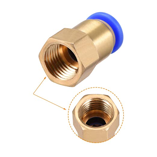 uxcell Push to Connect Tube Fitting Adapter 6mm Tube OD x G1//4 Female Straight Pneumatic Connecter Connect Pipe Fitting Silver Tone 2pcs