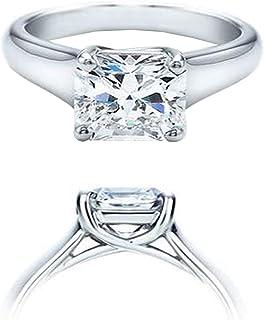 Dazzlingrock Collection IGI Certified 1.01 Carat (ctw) 14K Square Lab Grown Diamond VVS2 Ladies Solitaire Ring 1 CT, White...