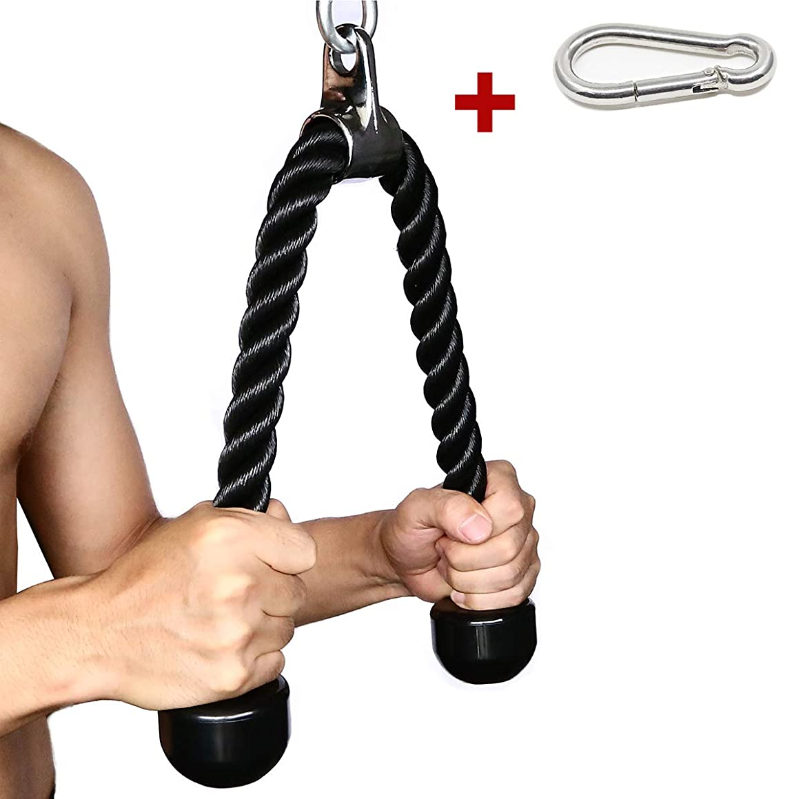 Tricep Rope 27 & 36 inches 2 Colors Fitness Attachment Cable Machine Pulldown Heavy Duty Coated Nylon Rope with Solid Rubber Ends